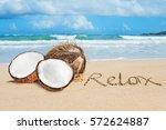 Open Coconut On Tropical Beach...