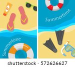 summertime and beach vacation... | Shutterstock .eps vector #572626627