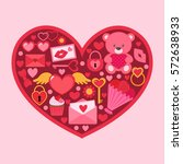 valentine day vector card with... | Shutterstock .eps vector #572638933