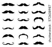 set of black vector mustache... | Shutterstock .eps vector #572638987
