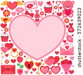 valentine day vector card with... | Shutterstock .eps vector #572639023