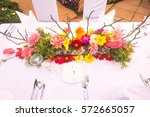 beautiful flower arrangement on ... | Shutterstock . vector #572665057