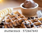 belgian waffles with fruit and... | Shutterstock . vector #572667643