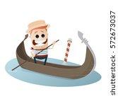 venetian gondolier cartoon... | Shutterstock .eps vector #572673037