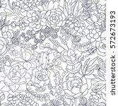 succulent seamless pattern... | Shutterstock .eps vector #572673193