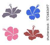 vector hibiscus floral... | Shutterstock .eps vector #572682697