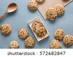 oats cookies on a gray table in ...   Shutterstock . vector #572682847