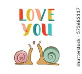 Card With Two Snails In Love