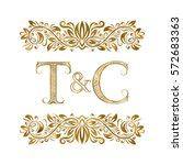 t and c vintage initials logo... | Shutterstock .eps vector #572683363