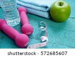 fitness equipment. healthy food ... | Shutterstock . vector #572685607