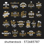 happy valentines day typography ... | Shutterstock .eps vector #572685787