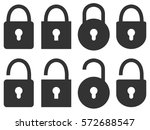 set of closed and open lock... | Shutterstock .eps vector #572688547
