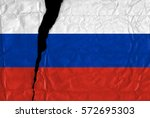 torn and grunge flag of russia. | Shutterstock . vector #572695303