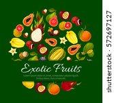 fruit poster of vector fruits... | Shutterstock .eps vector #572697127