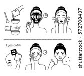 Face skin care set with girl isolated vector illustration. Girl washing her face, cleansing and applying cosmetic cream. Face skincare hygiene procedures, facial treatment mask, cosmetic eye patche.
