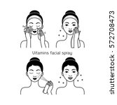 Face skin care set with girl isolated vector illustration. Girl washing her face, cleansing and applying vitamins spray. Facial treatment, face skin hygiene procedures, beauty and healthy lifestyle.