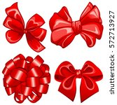 vector of set with red bows on... | Shutterstock .eps vector #572713927