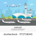 airport passenger terminal and... | Shutterstock .eps vector #572718343
