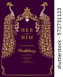 indian wedding invitation card... | Shutterstock .eps vector #572731123