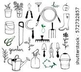 set of various gardening items. ...   Shutterstock .eps vector #572732857