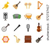 musical instruments icons set.... | Shutterstock .eps vector #572737417