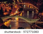 night panoramic view of tbilisi ... | Shutterstock . vector #572771083