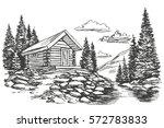 house in mountain landscape...   Shutterstock .eps vector #572783833