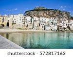 beautiful coast of cefalu ... | Shutterstock . vector #572817163