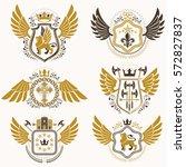 heraldic emblems with wings... | Shutterstock .eps vector #572827837