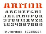 stencil serif font and numerals ... | Shutterstock .eps vector #572850337