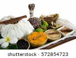 herbal massage on the white... | Shutterstock . vector #572854723