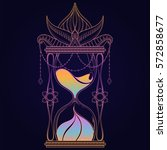 vintage timer with color sand... | Shutterstock .eps vector #572858677