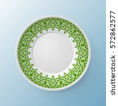 decorative plate with round... | Shutterstock .eps vector #572862577