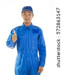 mechanic man in blue coverall... | Shutterstock . vector #572863147