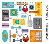 different house door lock icons ...   Shutterstock .eps vector #572871643