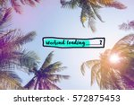 Small photo of Weekend loading bar with coconut trees over clear sky on day noon light with filtered color