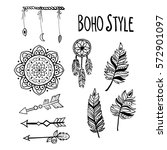 set of boho style hand drawn...   Shutterstock .eps vector #572901097