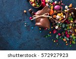 delicious chocolate easter eggs ... | Shutterstock . vector #572927923