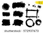 set of black paint  ink brush... | Shutterstock .eps vector #572937673