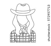 Cowgirl Icon In Outline Style...