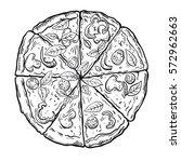 hot delicious italian pizza on... | Shutterstock .eps vector #572962663