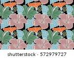 summer hawaiian seamless... | Shutterstock . vector #572979727
