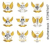 vintage weapon emblems set.... | Shutterstock .eps vector #572987647