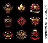 royal symbols  flowers  floral...   Shutterstock .eps vector #572987677