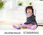 pretty happy little japanese... | Shutterstock . vector #573009043