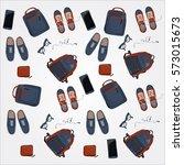 set of personal belongings of... | Shutterstock .eps vector #573015673