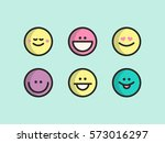 happy colorful simple line... | Shutterstock .eps vector #573016297