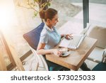 young smiling businesswoman on... | Shutterstock . vector #573025033