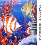 fish corals oil paintings | Shutterstock . vector #573025933