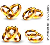 realistic golden rings isolated ... | Shutterstock .eps vector #573043093